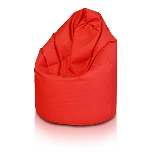 Bepouf Poltrona Sacco Puf Pouf Dimensioni 110x70 Poliestere Pieno (Rosso, Media)