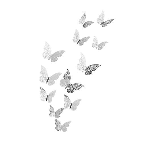 KonJin 12 Stück 3D Hohle Wand-Aufkleber Schmetterlings-Kühlraum für Hauptdekoration Neue Deko Schmetterlinge wunderschöne farbenfrohe Dekoration Wandtattoo