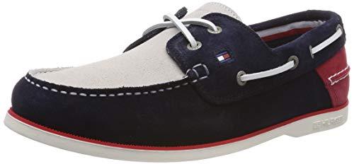 Tommy Hilfiger Classic Suede Boatshoe, Zapatos de Vela. para Hombre, Rojo (RWB 020), 44 EU