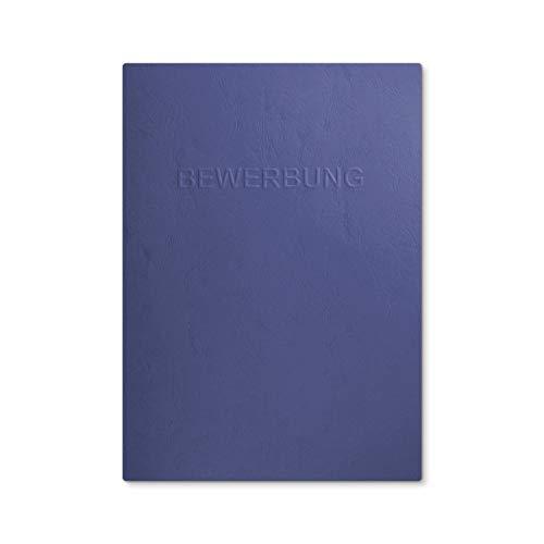 """8 Stück 2-teilige Bewerbungsmappen Blau mit 1 Klemmschiene in feinster Lederstruktur - hochwertige Prägung """"BEWERBUNG"""" - 8"""