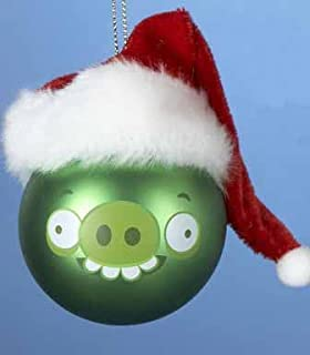 Kurt Adler Green Pig Angry Bird with Santa Hat Glass Ball Christmas Ornament 2.5