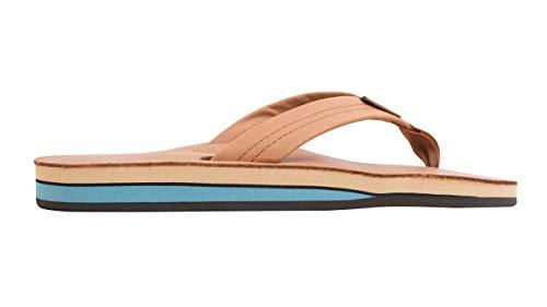 Rainbow Sandals Men's Premier Leather Double Layer with Arch Wide Strap, Classic Tan/Blue, Men's X-Large / 11-12 D(M) US