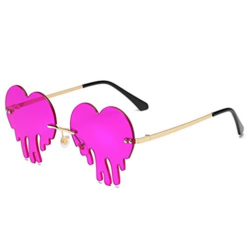 CHYSJ Gafas de Fiesta Divertidas sin Montura, Gafas de Sol Nuevas de Las Mujeres, Gafas de Goteo, Gafas de Sol en Forma de corazón con Lentes teñidas