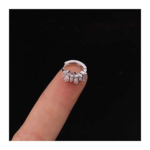 LUOSI 1 Unids Trendy Shiny Zircon Circle Hoop Ear Hueso Pendientes Pendiente para Mujeres Hombres Clásico Geométrico 8mm Cerrado Redondo Oreja De Cobre (Metal Color : 1 PCS Silver Color)