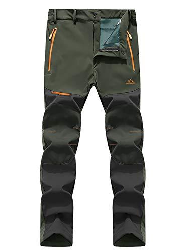 EKLENTSON Pantaloni da snowboard impermeabili da uomo foderati in pile per alpinismo, alpinismo, escursionismo, invernali, softshell con tasca con zip verde militare
