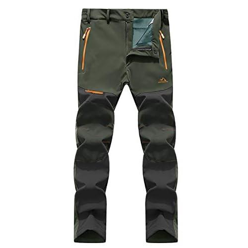 EKLENTSON Men's Waterproof Softshell Fleece Lined Outdoor Walking Trousers Warm Thicken Hiking Ski Pants with Zip…