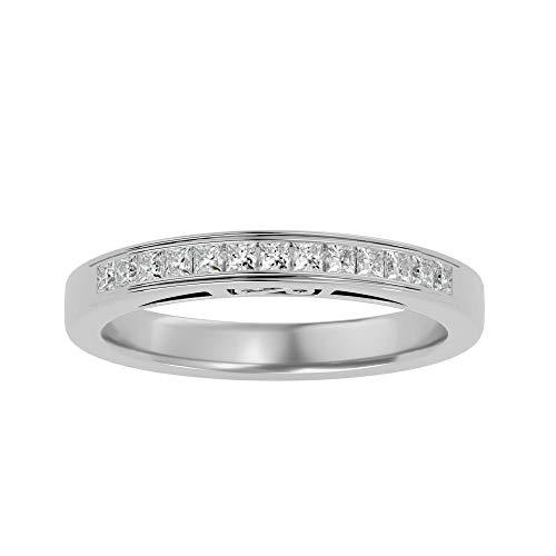 Anillo de oro de 14 quilates con diamante natural de corte princesa (0,32 quilates) con anillo de boda de oro blanco/amarillo/rosa para mujer