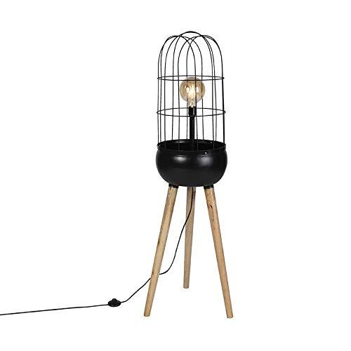 QAZQA Retro Moderne vloerlamp zwart op houten driepoot - Birds Staal/Hout Langwerpig/Bol/Rond Geschikt voor LED Max. 1 x 40 Watt