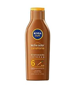 NIVEA SUN Leche Solar Zanahoria FP6 (1 x 200 ml), protección solar para un bronceado bonito y duradero, protector solar hidratante resistente al agua