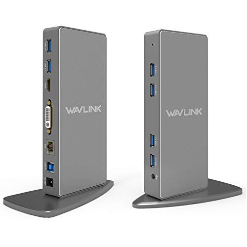 WAVLINK USB 3.0 Universal Docking Station, 12-in-1 Aluminum Adapter with Dual Video HDMI & DVI/VGA, Gigabit Ethernet, 6 USB 3.0, USB-B, Audio, DC Port for Desktop Laptop Tablet PC