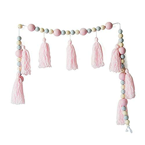 JUN Lovely Pink Wood Beads Tassels Wall Hanging Ornament Girls Gift Color Wooden Beads Hanging Decoration Garland Kids Room Décor 47inch (Pink)