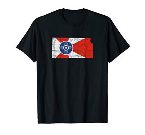 Wichita Kansas Flag Distressed Design - Wichita Kansas T-Shirt