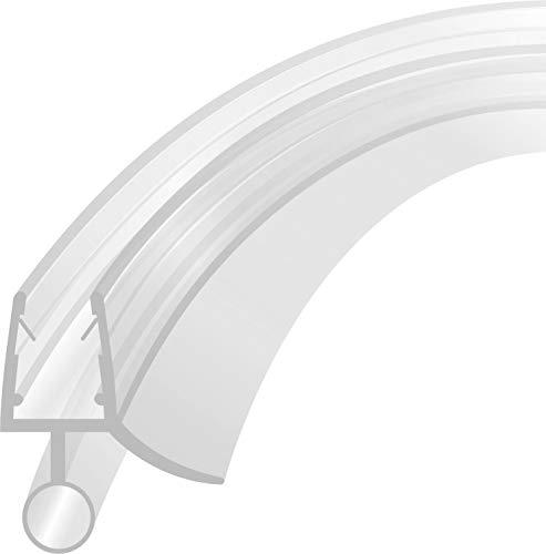 Duschdichtung Runddusche Schwallschutz Streifdichtung ErsatzdichtungWasserabweiser Viertelkreis gebogen 80 cm für eine Glasstärke von 4-8mm