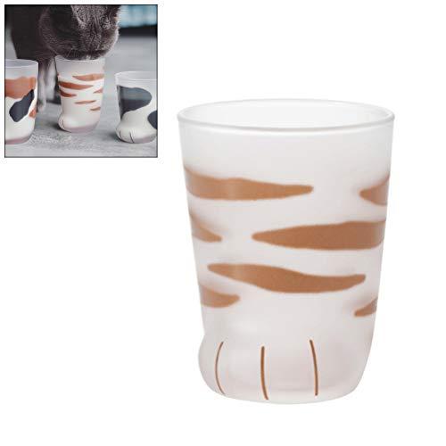 Ysoom Cat Paw Glass Cup, Katzenkaffee Mug Wall Glas Cup Heat resistent Handmade Creative Milk Mug Tea Whiskey Glass Cup Present Tassen, Valentines Gift 300ml