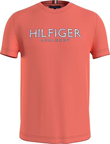 Tommy Hilfiger Herren Hilfiger Palm Print Tee T-Shirt, Sommer-Sonnenuntergang, L