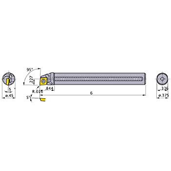 0.602 Minimum Cutting Dia. Mitsubishi Materials C-SCLCR-082 Screw Clamp Boring Bar with 0.250 IC Rhombic 80/° Insert 0.500 Shank Dia Right Carbide Shank 95/° Cutting Angle