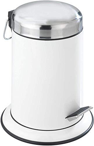 WENKO Kosmetik Treteimer Retoro Weiß Edelstahl - Kosmetikeimer, Mülleimer Fassungsvermögen: 3 l, Edelstahl rostfrei, 22 x 30.5 x 22 cm, Weiß