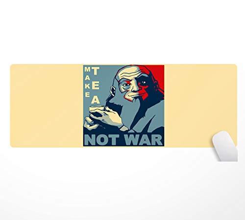 Alfombrilla de ratón Make Tea Not War Peaceful Samurai Tea Drinker-800 x 300 mm, superficie de goma antideslizante, apta para jugadores