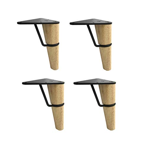 Patas de muebles DIY Mesa Piernas Muebles Pies de madera maciza, patas de muebles de madera, conjunto de 4 pies de reemplazo cónico de madera pies cono / soporte triangular, instalación simple, con ac