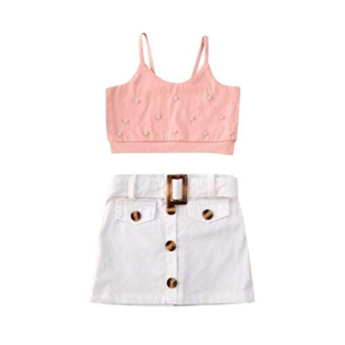 幼児の赤ちゃんの のストラップクロップトップ+ミニスカートの衣装セット2ピース幼児の女の子の夏の服 (Pink, 6-12 Months)