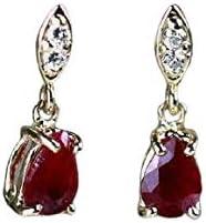 Women's Tishya Jewellers Pear Max 80% OFF [Alternative dealer] Cut Artificial Earri Ruby Dangle
