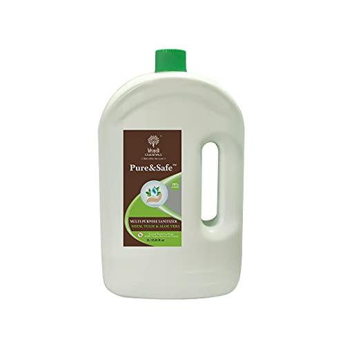 Khadi Essentials Pure&Safe Sanitizer 1 Litre Instant Hand Sanitizer Liquid 70% Ethyl Alcohol, Neem, Tulsi & Aloe Vera Extracts with Glycerine (1ltr)