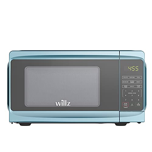 Willz WLCMV807BE-07 Countertop Microwave Oven, 6 Cooking Programs, LED Lighting,Push Button, 0.7 Cu.Ft, Blue