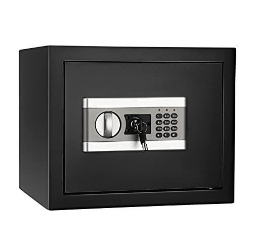 Caja Con Ilave Caja de seguridad segura Teclado digital y bloqueo de llaves para efectivo FUTPROFIO A prueba de agua Gabinete a prueba de agua Luz de inducción Caja Fuerte Pequeña (Color : Black)