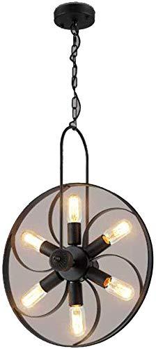 Beautiful Home Decoratielampen Vintage Wheels kroonluchter in hoogte verstelbaar ijzeren kunst-zwart hangende lampen Multi Flame E27 binnenverlichting vergaderruimte LED Nursery Traditionele Droplight Per