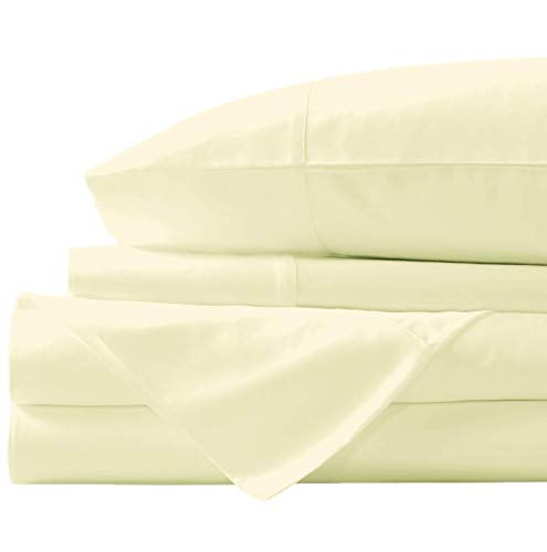 """New York Mercado Super Soft, Elegant and Premium Quality, 100% Egyptian Cotton, Italian Finish 600 TC, Long stapled 4-pc Bedding Sheet Set with 21"""" Deep Pocket (Queen - Sheets, Ivory)"""