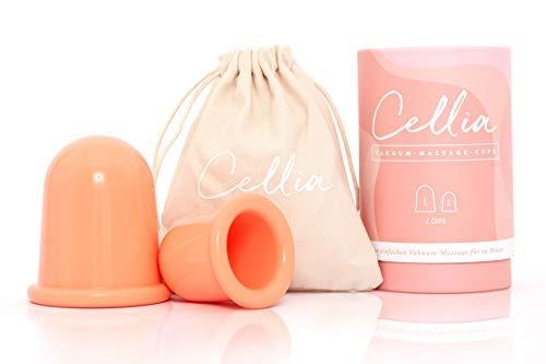CELLIA® Anti Cellulite Saugglocke Set in 2 Größen S und L | Vakuum Massage-Cup Body Cupping Set gegen Cellulite zur Hautstraffung, Schröpf-Massage und Lymphdrainage | Silikon Cups| Schröpfen