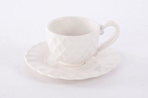 AVENUELAFAYETTE Tasse + Soucoupe Losange en céramique Blanche