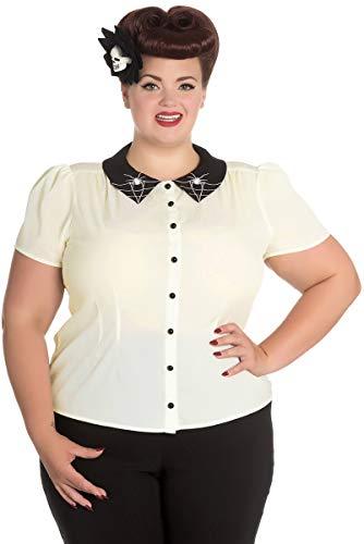 Hell Bunny Damen Oberteil Miss Muffet Vintage Spider Bluse (2XL, Creme/Schwarz Plus Size)