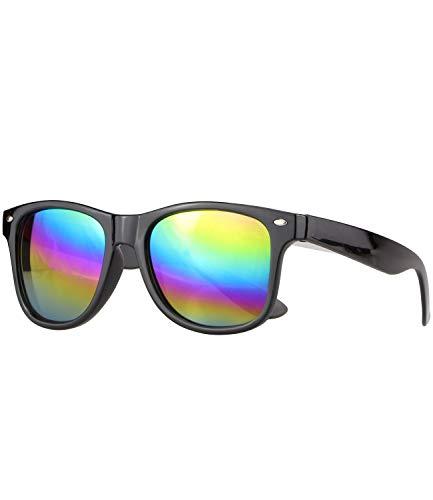Caripe Damen Herren Sonnenbrille verspiegelt Retro Nerd Vintage 80er, SP (schwarz rainbow verspiegelt)