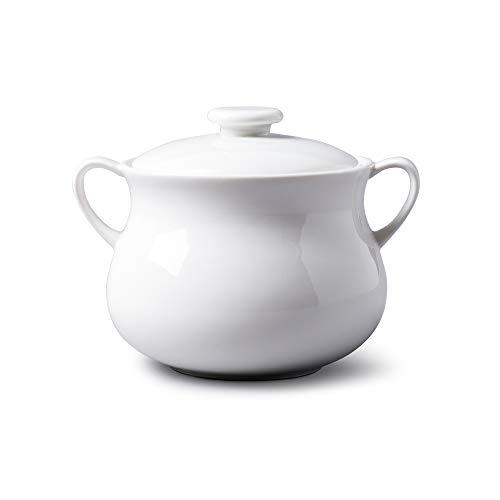 WM Bartleet & Sons 1750 T411 Tazón tradicional de porcelana con tapa individual para sopa de cebolla francesa y estofado con asas, 500 ml, color blanco