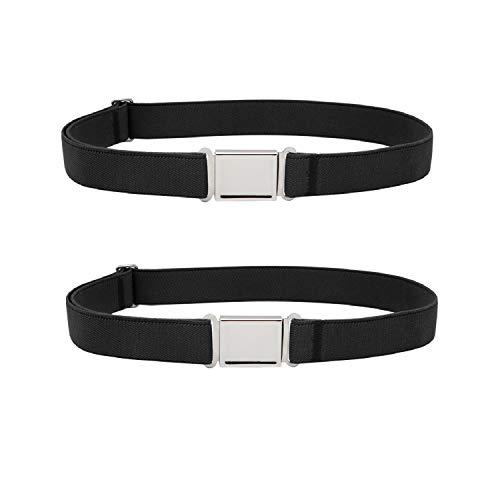 JASGOOD Kids Adjustable Magnetic Belt Boys Girls Elastic Belt with Easy Magnetic Buckle Fit Pant Size16-26Inch(Black+Black,Pant Size16-26Inch)