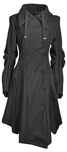 QZUnique Women's Long Personality Collar Outwear Slim Trench Coat Black US XS