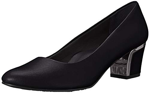 Soft Style by Hush Puppies Women's Deanna Dress Pump, Black Crosshatch Patent, 8 W US