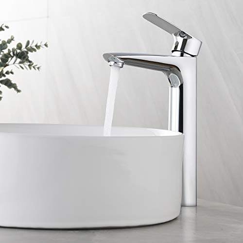 KAIBOR Wasserhahn Bad Amatur für Aufsatzwaschbecken, hoch Waschtischarmatur mit Auslauf Höhe 223mm Einhand-Waschtischbatterie Chrom