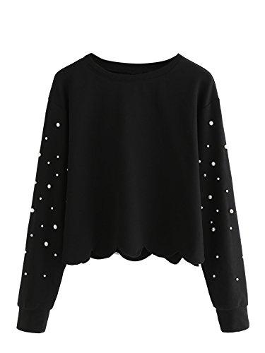 Romwe Women's Casual Long Sleeve Scalloped Hem Crop Tops Sweatshirt Black-Pearl S