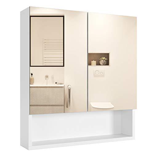 Homfa Armadietto Bagno Specchio Mobiletto Pensile Bagno con 2 Ante 1 Specchio Armadietto Parete Salvaspazio Contenitore con Ripiani 53 x 13 x 58 cm Bianco