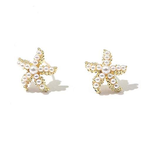 Dainty Pearl Starfish Stud Earrings, Beach Jewelry 18K Gold Plated Sea Star Stud Earrings for Women Girls