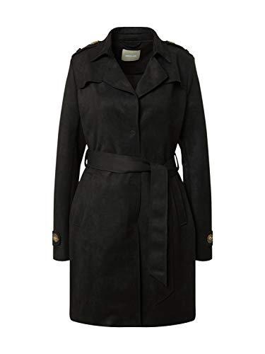 Amber & June Langarm Mantel Reverskragen Schulterklappen schwarz Größe 40