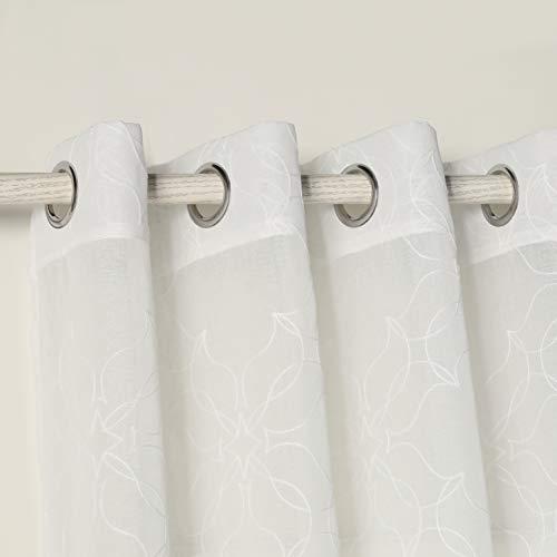 PimpamTex – Cortina Translúcida para Salón, Dormitorio y Habitación, Visillos Modernos y Originales con Diferentes Diseños, 1 Unidad, Cortinas con Ojales - (140 x 280 cm, San Jose Natural)
