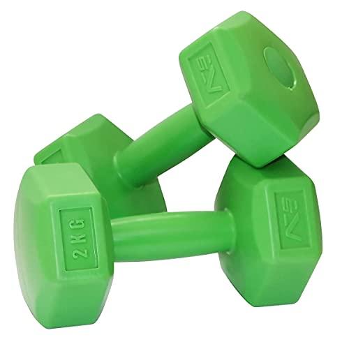 SportVida Hexagon Kurzhantel-Set - Gewichte Hantel Set Weise - Fitness Zuhause - Multifunktionale Mini Hanteln - Nicht Drehbar - Perfekt für zu Hause - (2 x 2 kg)
