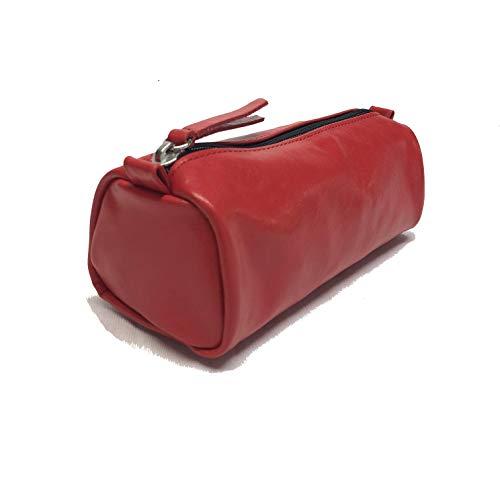 LCTi Astuccio vera pelle Astuccio 21cm/6,5cm/8cm made in italia (rosso)