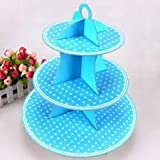Balloonistics Blue Polka Dot 3-Tier Treat Tree Cupcake Stand Paper Cake Carrier