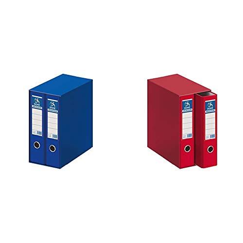 DOHE Archicolor - Módulo 2 archivadores folio lomo ancho, color azul + Archicolor - Módulo 2 archivadores, folio lomo ancho, color rojo