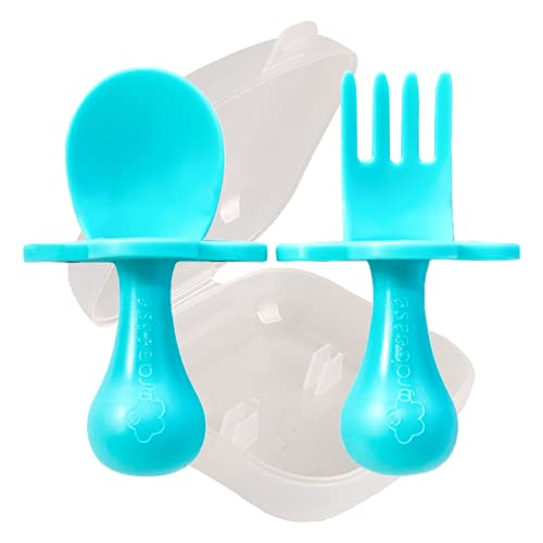 grabease First Self Feed Baby Utensils with a to-Go Case - Anti-Choke, BPA-Free Baby Spoon and Fork Toddler Utensils - Toddler Silverware for Baby Led Weaning Ages 6 Months+, Teal