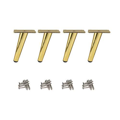 4 piezas Patas de mesa oblicuas, Patas de armario de metal, Patas de muebles de cono, 201 acero inoxidable, Dorado, 10 cm de altura, Base silenciosa antideslizante para sofás, mesas y otros muebles